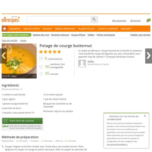 Recette Potage de courge butternut