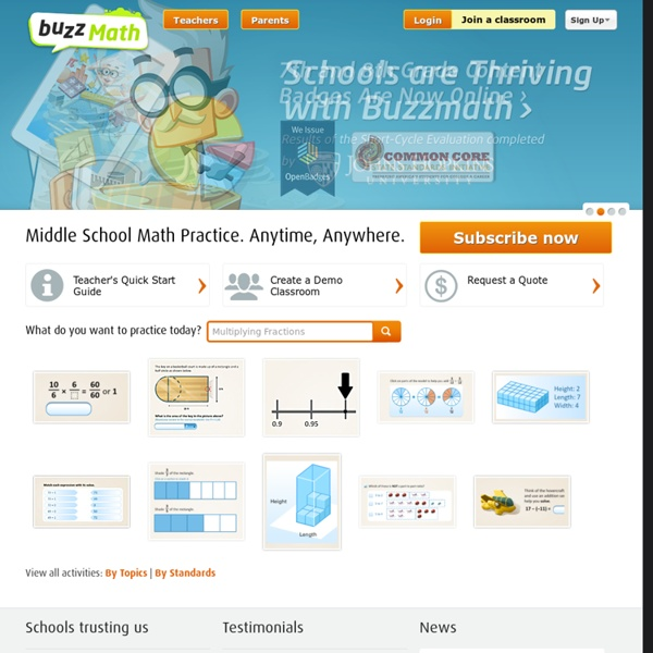 Buzzmath - Middle School Math Practice. Anytime, Anywhere.