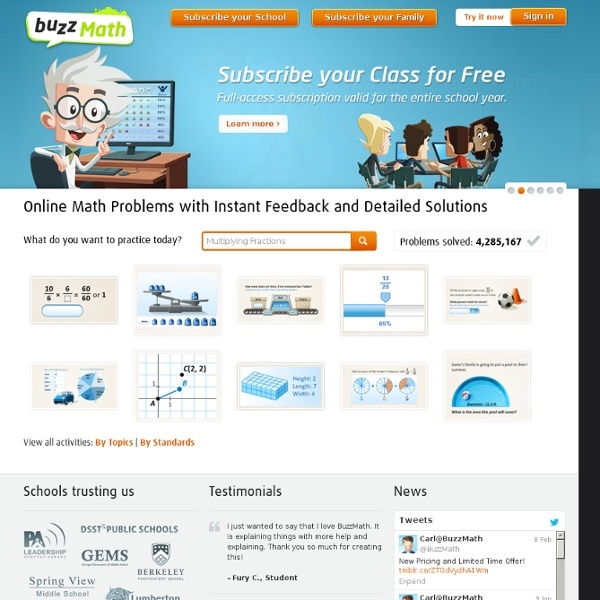 BuzzMath - Effective Math Problems, Math Activities, Instant Feedback