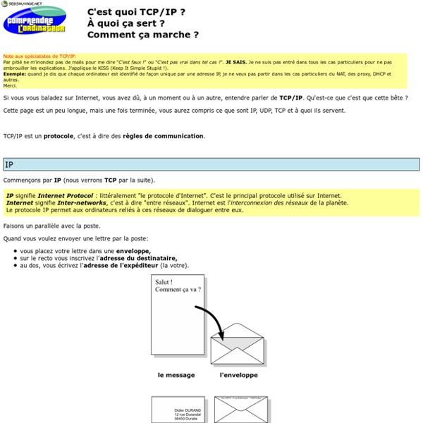 Comprendre l'ordinateur - C'est quoi TCP/IP ?