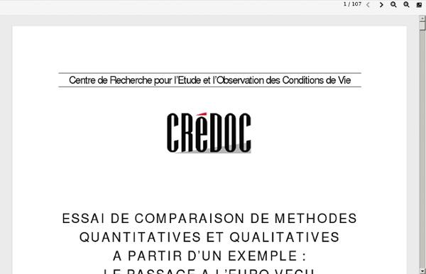 Comparaison méthodes quantitatives et qualitatives (CREDOC)