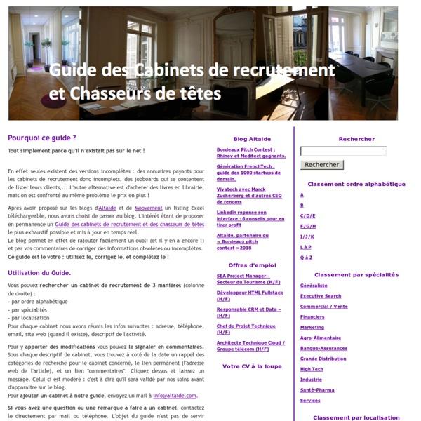 Guide des cabinets de recrutement et chasseurs de t tes - Cabinet de recrutement chasseur de tete ...