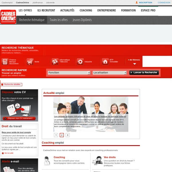 CadresOnline, site emploi des cadres : offres emploi, cabinets de recrutement, conseils