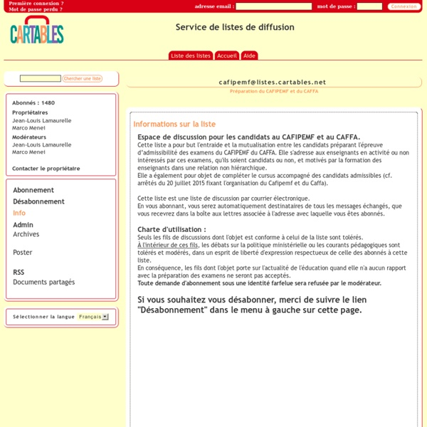 Cafipemf - Préparation du CAFIPEMF et du CAFFA - info