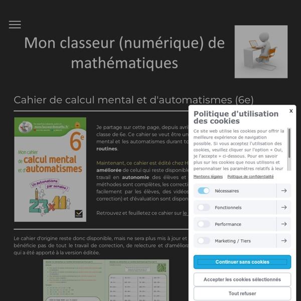 Fiches de calcul mental et d'automatismes (6e) - Mon classeur de maths