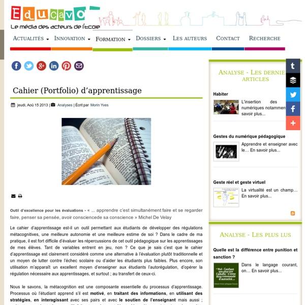 Cahier (Portfolio) d'apprentissage