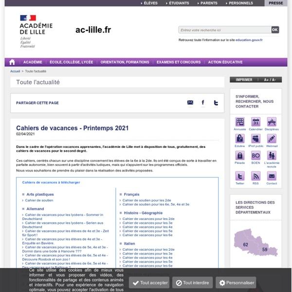 Cahiers de vacances - ac-lille.fr