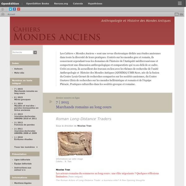 Cahiers « Mondes anciens » - Histoire et anthropologie des mondes anciens