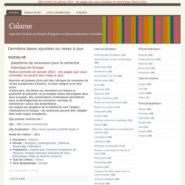 Calame : Dernières bases ajoutées ou mises à jour
