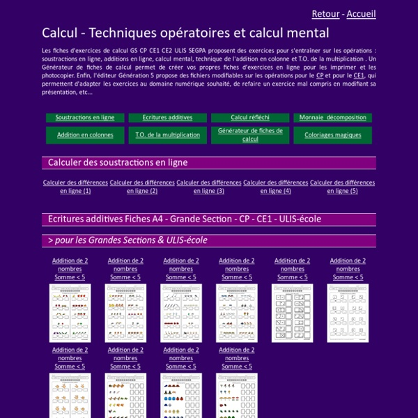 Calcul GS CP CE1 : Fiches opérations