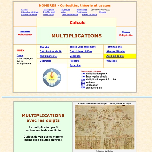 Calcul mental multiplication avec les doigts pearltrees - Calcul mental table de multiplication ...