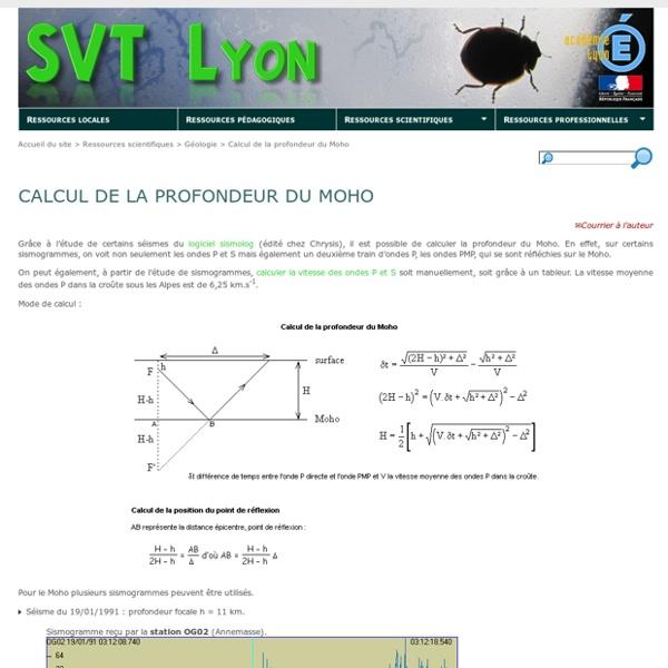 Calcul de la profondeur du Moho - SVT Lyon