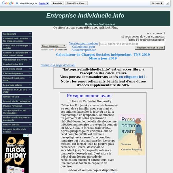 Calculateur de Charges Sociales indépendant, TNS 2013