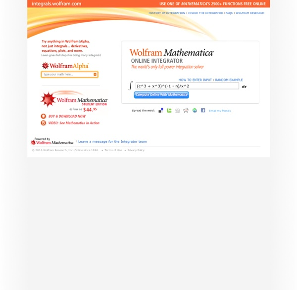 Integral Calculator: Wolfram Mathematica Online Integrator