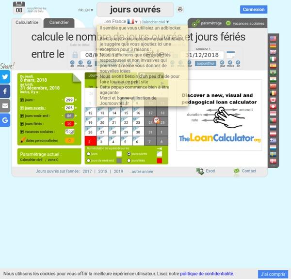 Calculateur de jours ouvrés en France