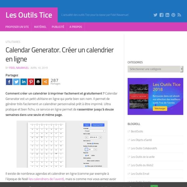 Calendar Generator. Créer un calendrier en ligne