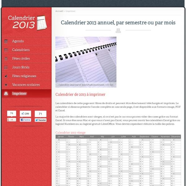 Calendrier 2013 à imprimer - Calendrier2013.net