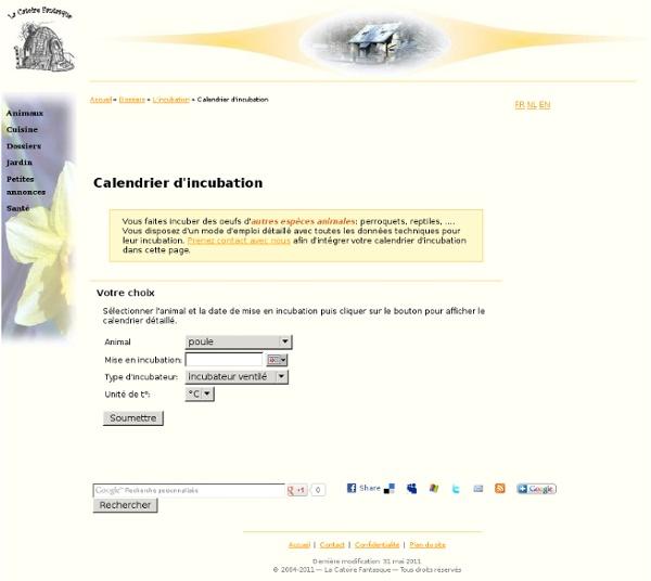 Calendrier d'incubation
