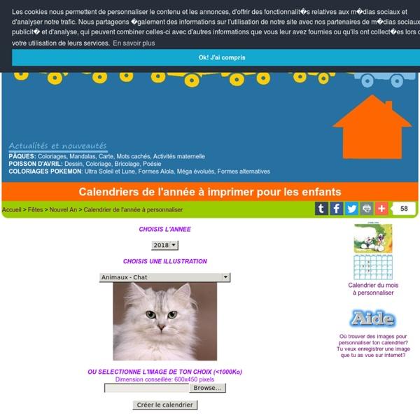 Calendrier à imprimer enfants - Calendriers 2012