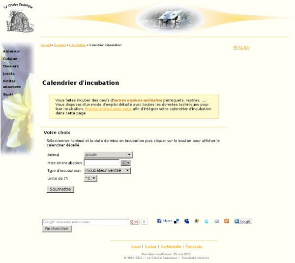 Calendrier d'incubation