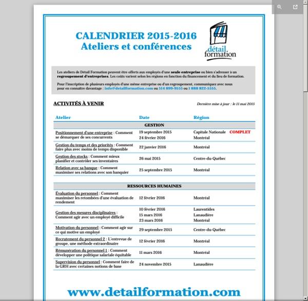 Détail Formation : calendrier 2015-2016
