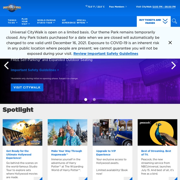 Official site of Universal Studios Hollywood theme park in Los Angeles California. Your guide to park hours, attractions, and theme park ticket deals.