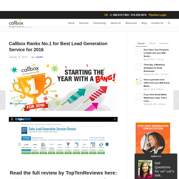 Callbox Ranks No.1 for Best Lead Generation Service for 2016