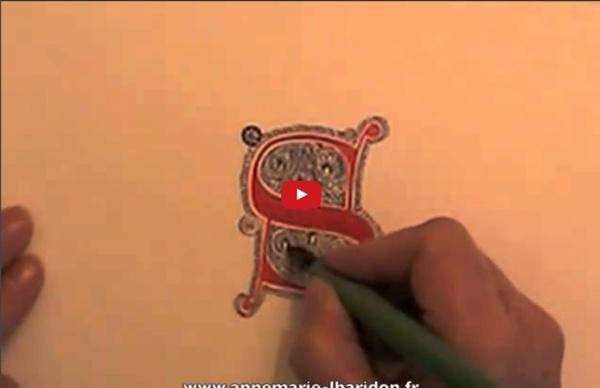 Calligraphie - Enluminure : Réalisation d'une lettre filigranée