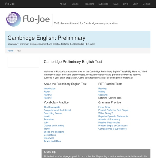 Preliminary English Test (PET): Practice Tests and Exercises from Flo-Joe