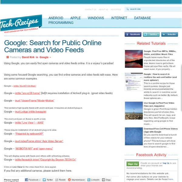 Google: Search for Public Online Cameras and Video Feeds