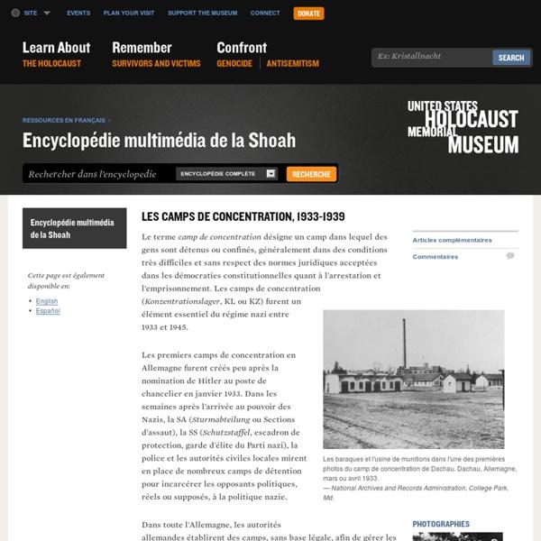 Les camps de concentration, 1933-1939