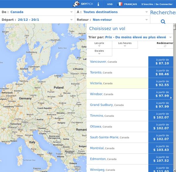 Moteur de recherche européen de billets d'avion de compagnies aériennes low-cost.
