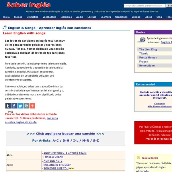 Songs - Aprender inglés con letras de canciones en inglés - Learn English with song lyrics