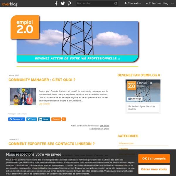 Emploi 2.0 - Emploi 2.0 existe pour aider à booster sa carrière et sa candidature. L'objectif de ce blog est d'aider les personnes en recherche d'emploi à devenir acteur de leur carrière en utilisant les réseaux sociaux et les outils du web 2.0 en fonctio