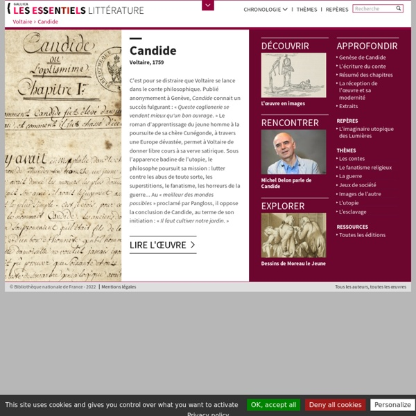 Candide ou L'Optimisme - Accueil