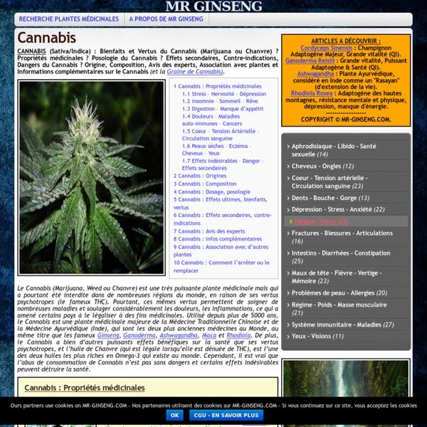 CANNABIS (Sativa/Indica) : Propriétés, Bienfaits, Dangers, Effets secondaires ?