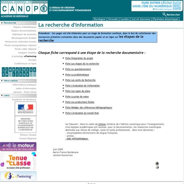 La recherche et le traitement d'infos - CRDP Aquitaine