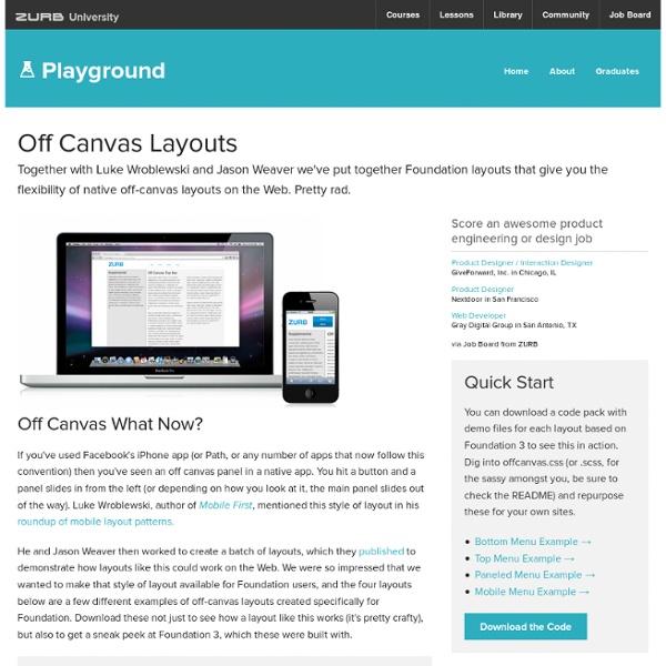 Off Canvas Layouts CSS - Foundation 3 - ZURB Playground - ZURB.com