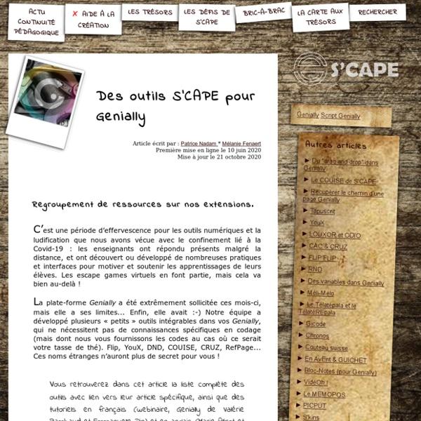 S'CAPE-Des outils S'CAPE pour Genially