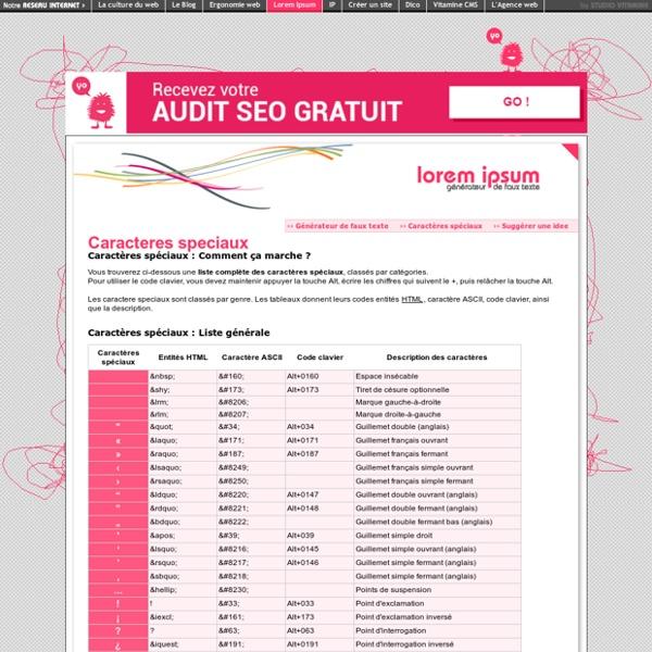 Caractères spéciaux : entités html, code ascii et raccourcis clavier. - LOREM IPSUM Generator