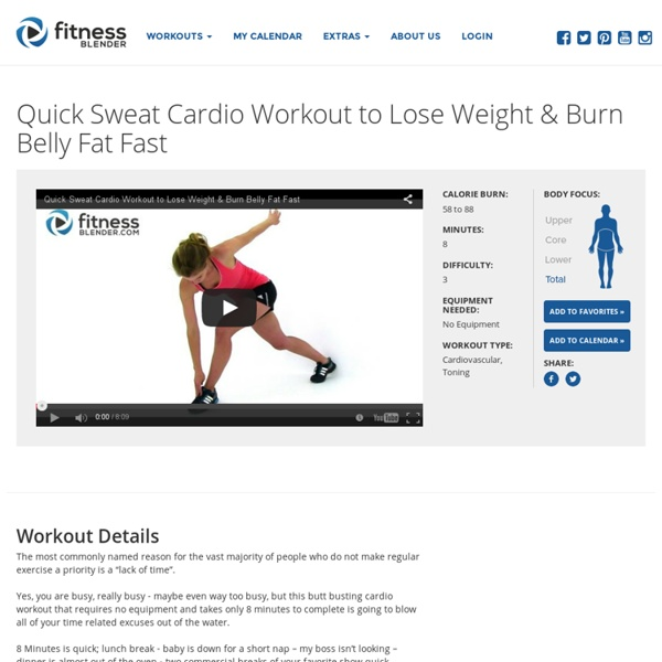 Quick Sweat Cardio Workout To Lose Weight Burn Belly Fat Fast Fitness Blender