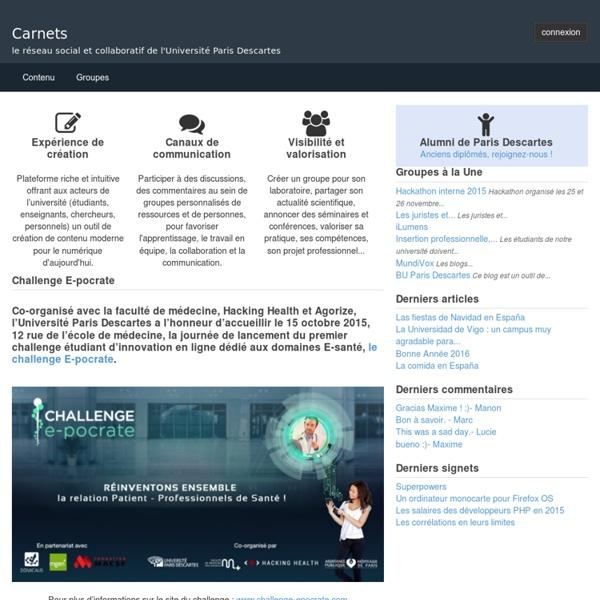 Articles de Sophie Mahéo articles : blog de Le réseau social de l'université Paris Descartes, version 2011