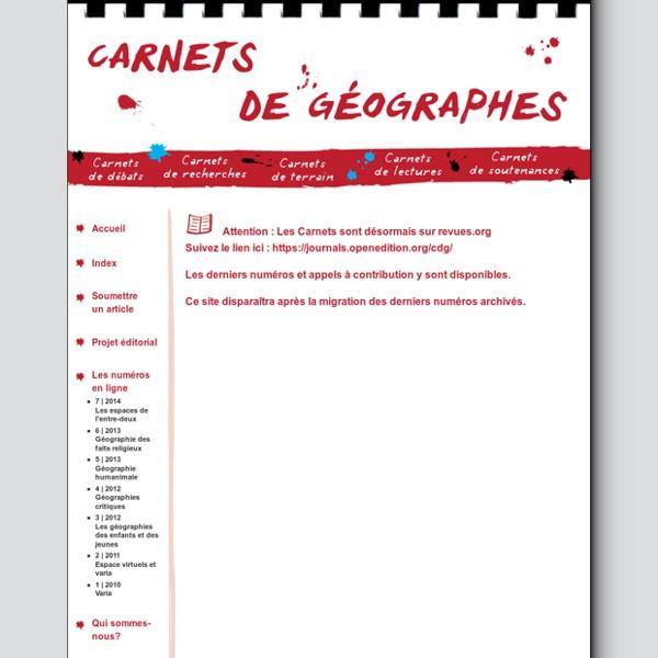 Carnets de géographes et de recherches