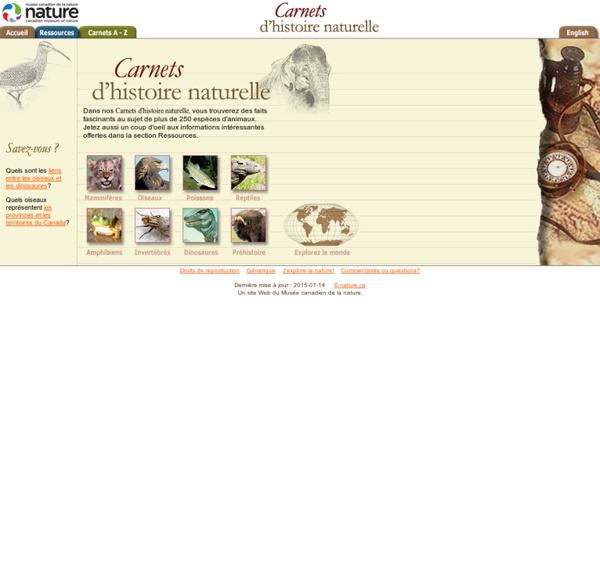 Carnets d'histoire naturelle — Page d'accueil