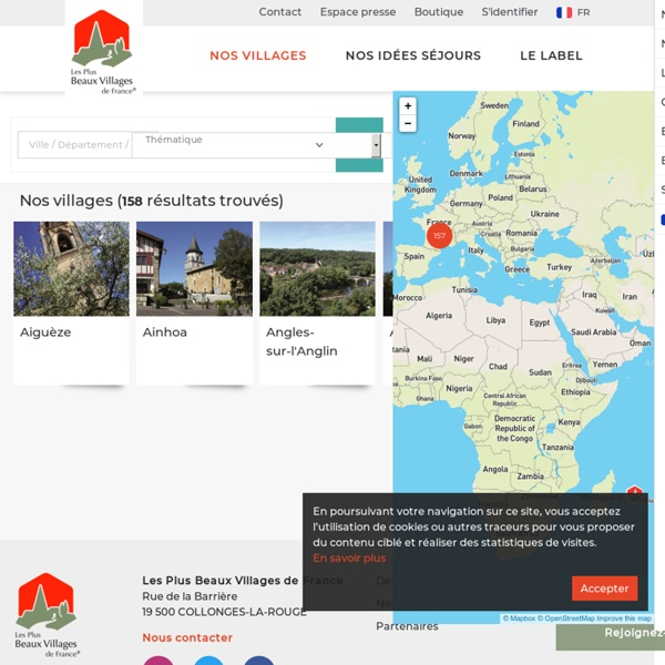 Carte des plus beaux villages de France