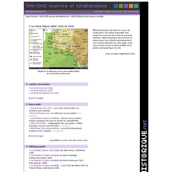Atlas historique - Le front Ouest entre 1915 et 1916