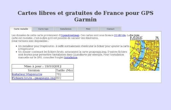 Cartes de France pour GPS Garmin