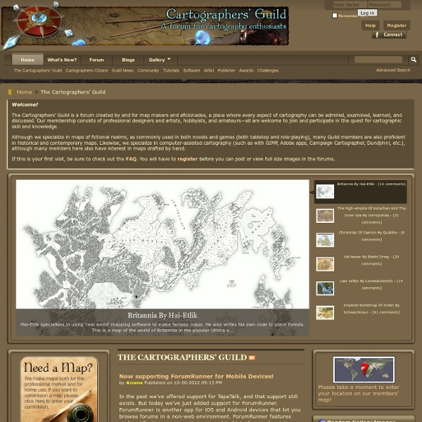 Cartographers' Guild - The Front Page