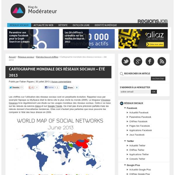 Cartographie mondiale des réseaux sociaux - été 2013