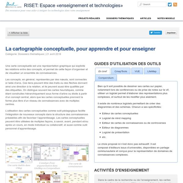 La cartographie conceptuelle, pour apprendre et pour enseigner – RISET: Espace «enseignement et technologies»